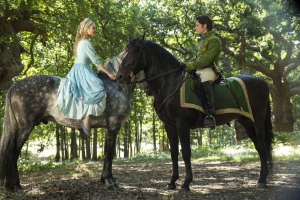 The Prince and Cinderella on horses