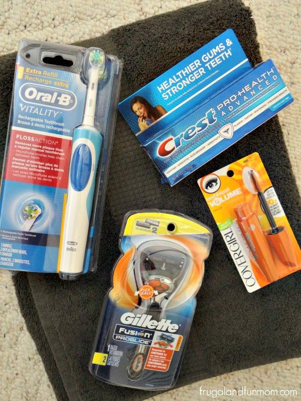 Covergirl Mascara, Oral B Toothbrush, Crest Toothpaste, Gillette Razor