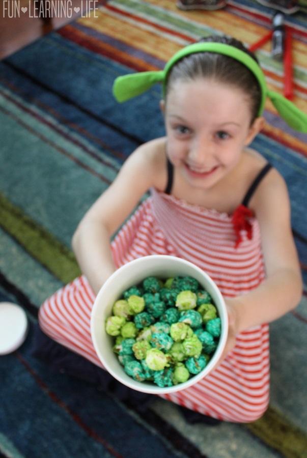 Eating Green Popcorn at Shrek Party