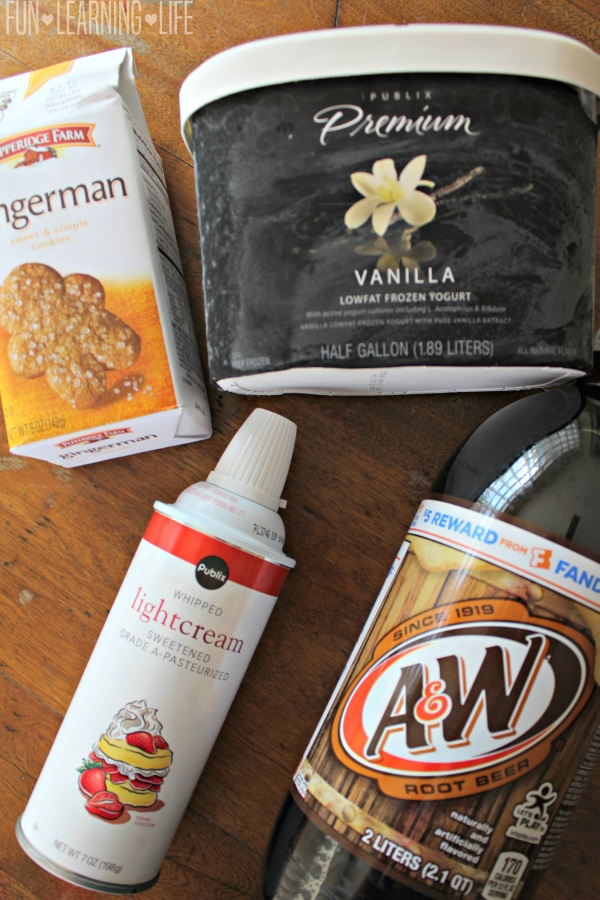 Ingredients for Gingerbread Man Root Beer Floats