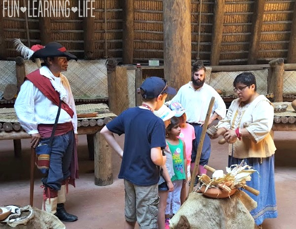 Learning about musical instruments at Mission San Luis