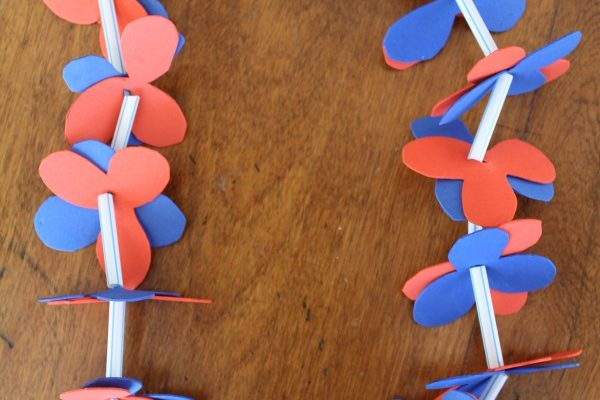 Red White and Blue Homemade Hawaiian Lei Craft Inspired By Disney's MOANA!