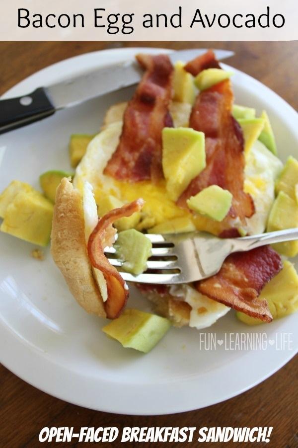 Bacon Egg and Avocado Open Faced Breakfast Sandwich