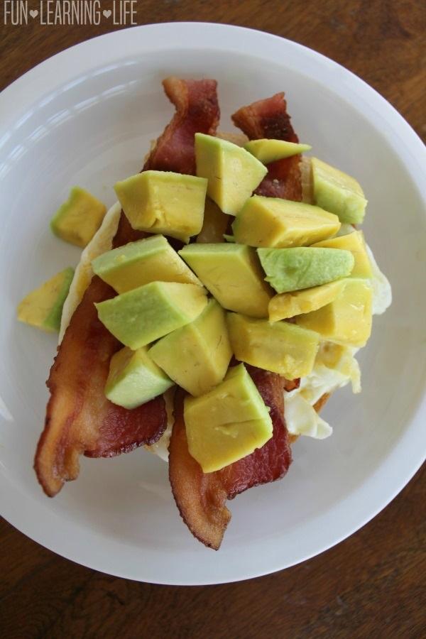 Prepared Bacon Egg and Avocado Open Faced Breakfast Sandwich