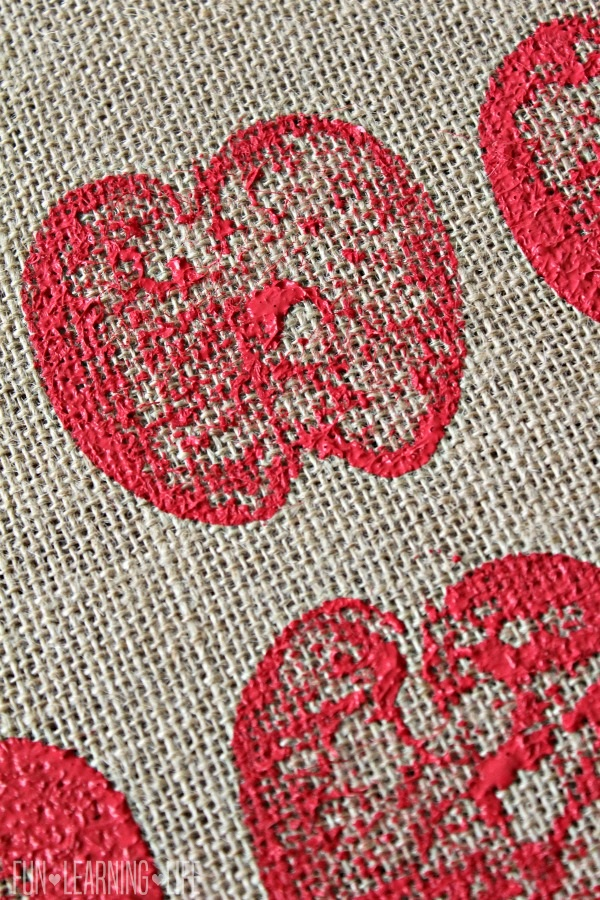 Fall Craft: Apple Stamping Burlap To Create Artwork!