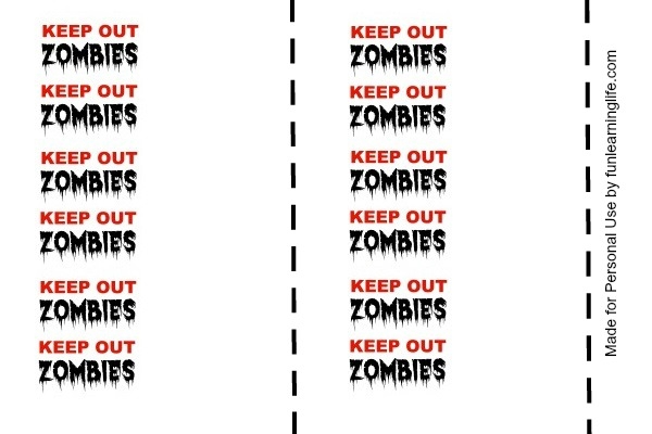 Keep Out Zombies Halloween Printable