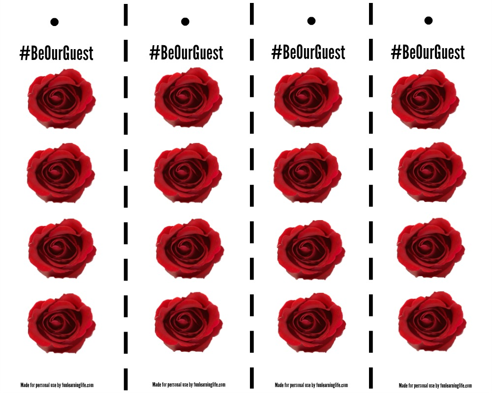 Enchanted Rose Printable Bookmark for Beauty and The Beast With ...