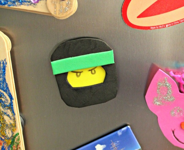 LEGO Ninjago Foam Magnet Craft on fridge preview - Fun Learning Life