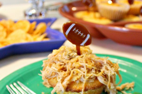 Game Day Food! Pulled Pork Cornbread Open Faced Sandwiches With Honey Mustard Sauce!