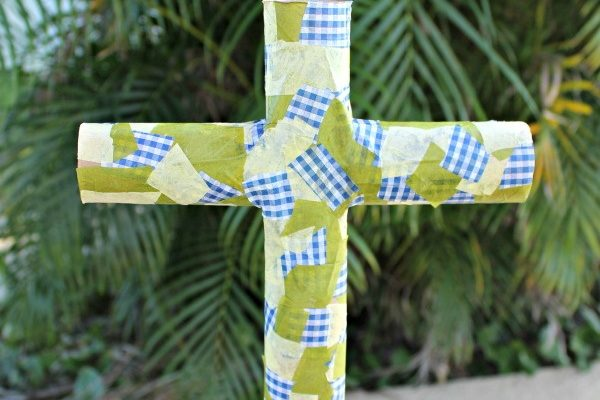 Decoupage Cross Craft Made From Recycled Materials!
