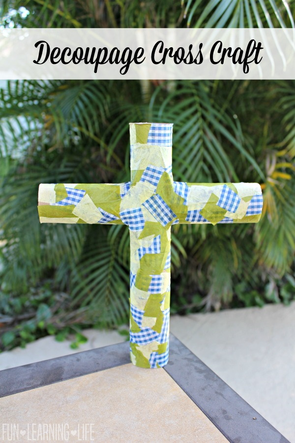 Decoupage Cross Craft Made From Recycled Materials
