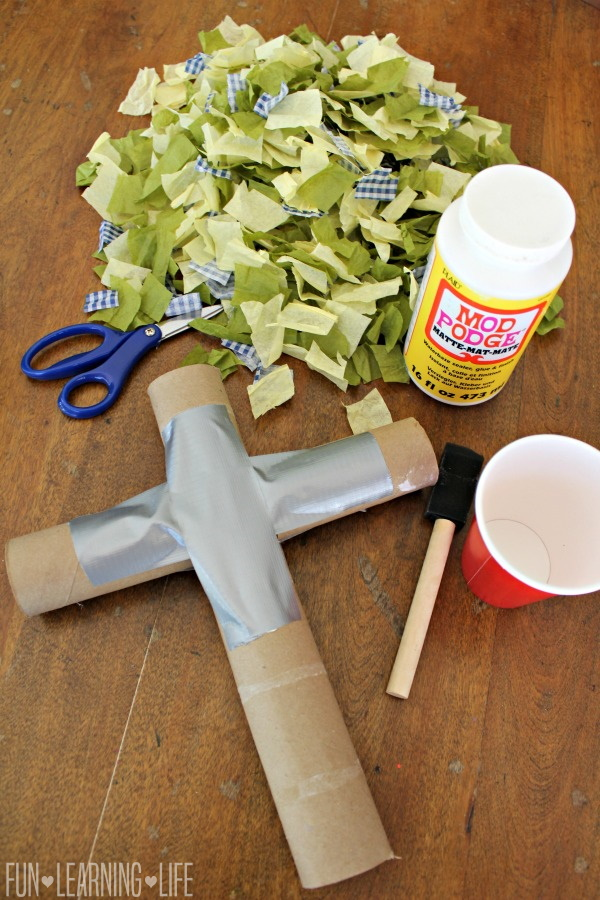Decoupage Cross Craft Made From Recycled Materials Toilet Paper Rolls