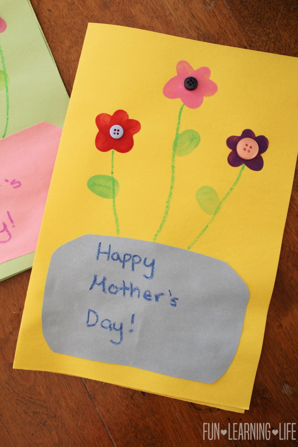 Mother's Day Button Card Craft with Handprint!