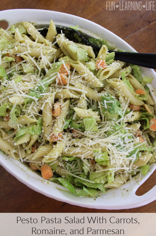 Pesto Pasta Salad With Carrots, Romaine, and Parmesan