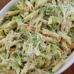 Pesto Pasta Salad With Carrots, Romaine, and Parmesan!